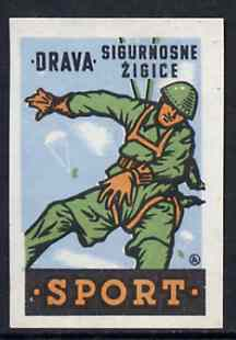 Match Box Label - Parachuting superb unused condition from Yugoslavian Sports & Pastimes Drava series