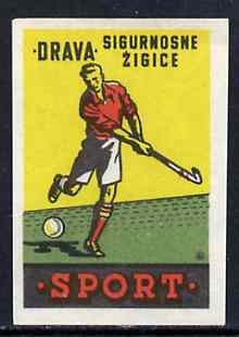 Match Box Label - Field Hockey superb unused condition from Yugoslavian Sports & Pastimes Drava series