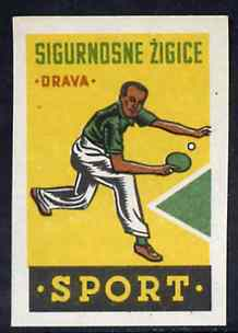 Match Box Label - Table Tennis superb unused condition from Yugoslavian Sports & Pastimes Drava series