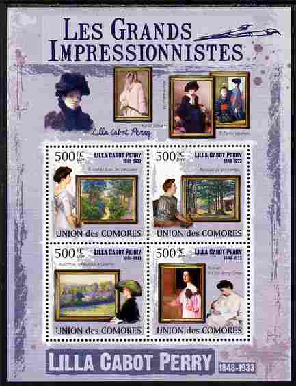Comoro Islands 2009 The Impressionists - Lilla Cabot Perry perf sheetlet containing 4 values unmounted mint