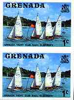 Grenada 1975 Yacht Club Race 1c unmounted mint imperforate pair plus normal pair (as SG 650)