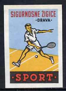 Match Box Label - Tennis superb unused condition from Yugoslavian Sports & Pastimes Drava series