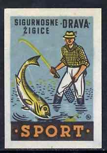 Match Box Label- - Fishing superb unused condition from Yugoslavian Sports & Pastimes Drava series