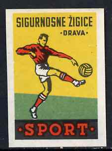 Match Box Label - Football superb unused condition from Yugoslavian Sports & Pastimes Drava series