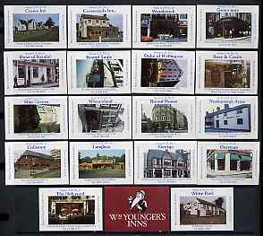 Match Box Labels - complete set of 18 + 1 Pubs & Inns, superb unused condition (Wm Youngers Inns)