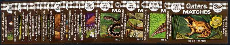 Match Box Labels - complete set of 15 Wildlife, superb unused condition (Caters)