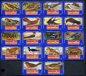 Match Box Labels - complete set of 18 Birds very fine unused condition (Cornish Match Motoross series)