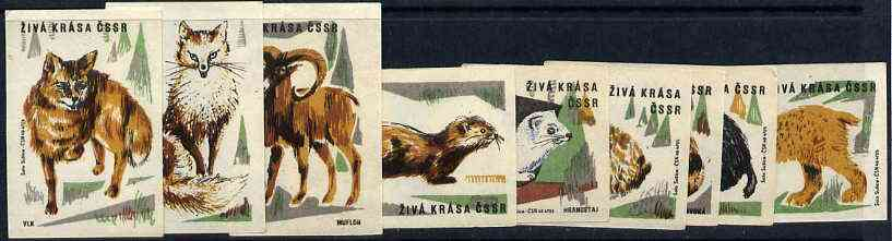 Match Box Labels - the set of 9 Animals from Animals & Birds set, superb unused condition (Czechoslovakian Ziva Krasa CSSR series)