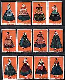 Match Box Labels - complete set of 12 Portuguese Costumes (set 1 - red background) superb unused condition (Portuguese)