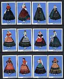 Match Box Labels - complete set of 12 Portuguese Costumes (set 5 - blue background) superb unused condition (Portuguese)