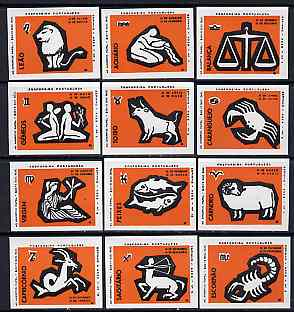 Match Box Labels - complete set of 12 Signs of the Zodiac (set 9 - orange background) superb unused condition (Portuguese)