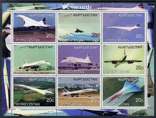 Kyrgyzstan 2000 Concorde perf sheetlet containing set of 9 values unmounted mint