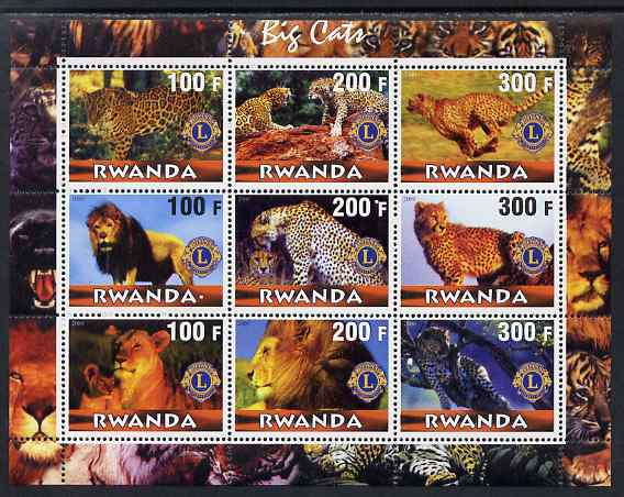 Rwanda 2000 Big Cats perf sheetlet containing complete set of 9 values each with Lions Int Logo unmounted mint