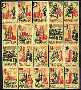 Match Box Labels - complete set of 20 Monuments (& City Arms), superb unused condition (Belgian)