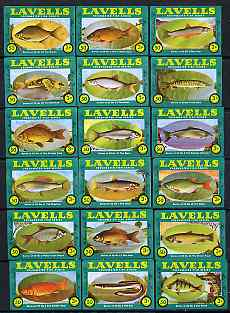 Match Box Labels - complete set of 18 Freshwater Fish, superb unused condition (Lavells) note - the label states a series of 25 but only nos 1 to 18 were ever produced