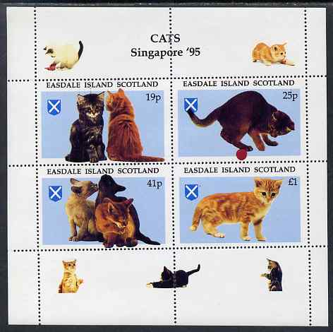 Easdale 1995 'Singapore 95' Stamp Exhibition (Cats) sheetlet containing perf set of 4 unmounted mint