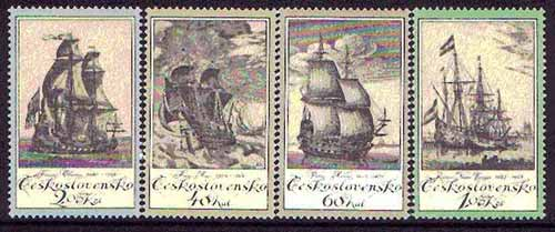Czechoslovakia 1976 Ship Engravings set of 4 unmounted mint, SG 2292-95, Mi 2330-33
