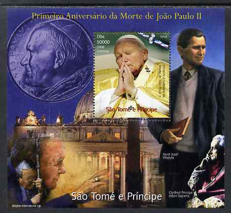 St Thomas & Prince Islands 2006 First Death Anniversary of Pope John Paul II perf s/sheet unmounted mint. Note this item is privately produced and is offered purely on its thematic appeal