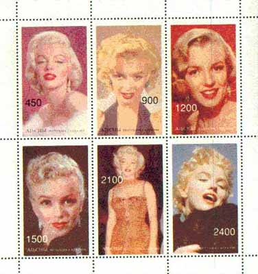 Abkhazia 1997 Marilyn Monroe perf sheetlet containing complete set of 6 values unmounted mint