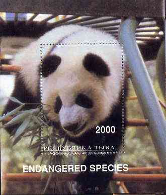 Touva 1997 Endangered Species (Panda) perf souvenir sheet (2000 value) unmounted mint