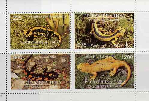 Touva 1997 Reptiles perf sheetlet containing complete set of 4 values
