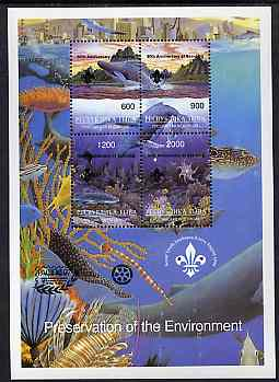 Touva 1997 Preservation of the Environment (Sea Life) deluxe sheet containing set of 4 values opt'd for 'Pacific 97' with Scout opt on stamps & Rotary opt in margin (in black) unmounted mint, stamps on , stamps on  stamps on marine-life, stamps on  stamps on whales, stamps on  stamps on rotary, stamps on  stamps on scouts, stamps on  stamps on stamp exhibitions, stamps on  stamps on knots
