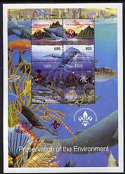 Touva 1997 Preservation of the Environment (Sea Life) deluxe sheet containing set of 4 values opt'd for 'Pacific 97' with Rotary opt on stamps & Scout opt in margin (in red) unmounted mint