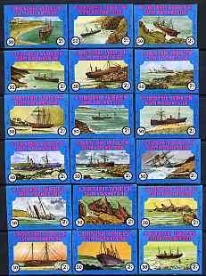 Match Box Labels - complete set of 18 Cornish Ship Wrecks, superb unused condition (Cornish Match Co Slim Pocket Size blue border, average content 50)