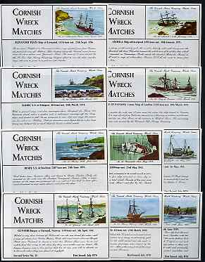 Match Box Labels - 10 Cornish Ship Wrecks (nos 21-30 the scarce dozen size outer labels), superb unused condition (Cornish Match Co issued July 1970)
