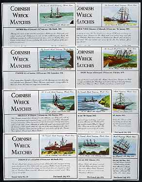 Match Box Labels - 10 Cornish Ship Wrecks (nos 31-40 the scarce dozen size outer labels), superb unused condition (Cornish Match Co issued July 1970)