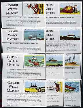 Match Box Labels - 10 Cornish Ship Wrecks (nos 41-50 the scarce dozen size outer labels), superb unused condition (Cornish Match Co issued July 1970)