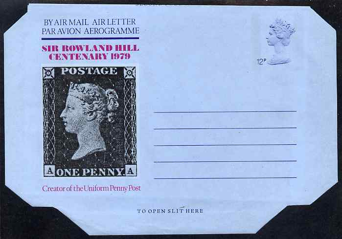 Aerogramme - Great Britain 1979 Death Centenary of Sir Rowland Hill 12p air letter form showing 1d black, unused folded along fold lines