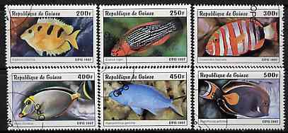 Guinea - Conakry 1997 Fish complete set of 6 values cto used, stamps on fish
