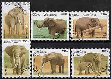 Laos 1997 Elephants complete set of 6 values cto used, SG 1570-75