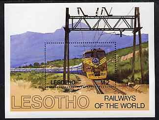 Lesotho 1984 Railways of the World unmounted mint m/sheet, unmounted mint SG MS 610, stamps on , stamps on  stamps on railways