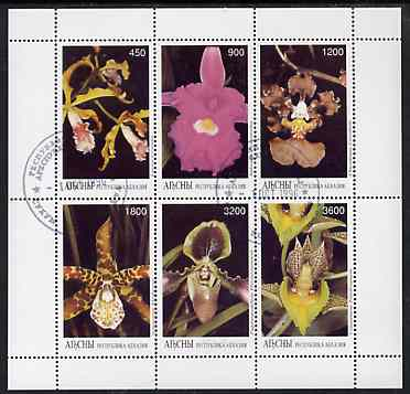 Abkhazia 1996 Orchids perf sheetlet containing complete set of 6 values cto used