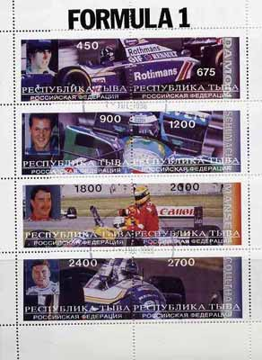 Touva 1996 Formula 1 Racing Cars perf sheetlet containing complete set of 8 values cto used (Hill, Schumacher, Mansell & Coulthard)
