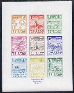 Tristan da Cunha - reprint set of 9 'Potato' essays as submitted by A B Crawford as designs for Tristan's own stamps. The potato essays were so called as the face values were expressed in 'pence' and 'potatoes' (local currency 4 potatoes = 1 pence)