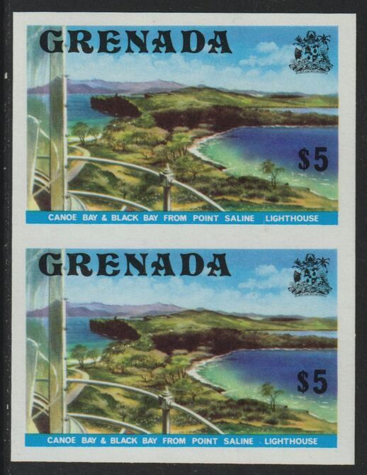 Grenada 1975 Canoe Bay $5 (View from Lighthouse) unmounted mint imperforate pair (as SG 667)