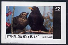 Eynhallow 1982 Birds #16 (Blackbird) imperf deluxe sheet (�2 value) unmounted mint