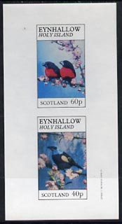 Eynhallow 1982 Love Birds imperf sheetlet containing complete set of 2 values (40p & 60p) unmounted mint