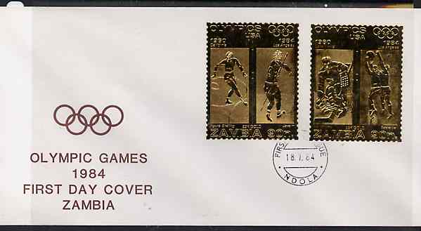 Zambia 1984 Los Angeles Olympic Games two values each embossed on gold foil on cover with first day cancel (sports are Figure Skating, Javelin, Ice Hockey & Basketball)