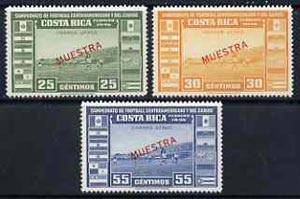 Costa Rica 1946 Central American & Caribbean Football Championships unmounted mint set of 3 opt
