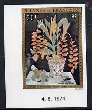French Polynesia 1974 Paintings 20f (Flower Arrangement) imperf from limited printing, unmounted mint as SG 189