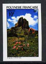 French Polynesia 1974 Landscapes 10f (Mountain Peak & Flowers) imperf from limited printing, unmounted mint as SG 183*