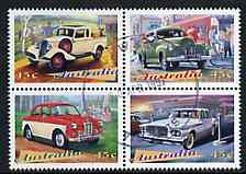 Australia 1997 Classic Cars se-tenant block of 4 fine cds used, SG 1667-70