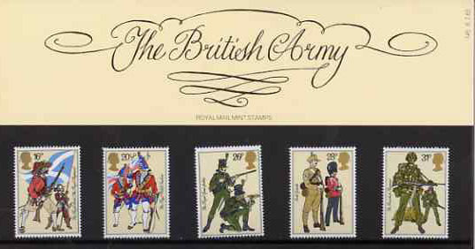 Great Britain 1983 British Army Uniforms set of 5 in official presentation pack SG 1218-22