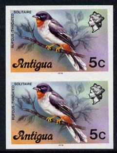 Antigua 1976 Solitaire Bird 5c (with imprint) unmounted mint imperforate pair (as SG 474B)