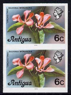 Antigua 1976 Orchid Tree 6c (with imprint) unmounted mint imperforate pair (as SG 475B)