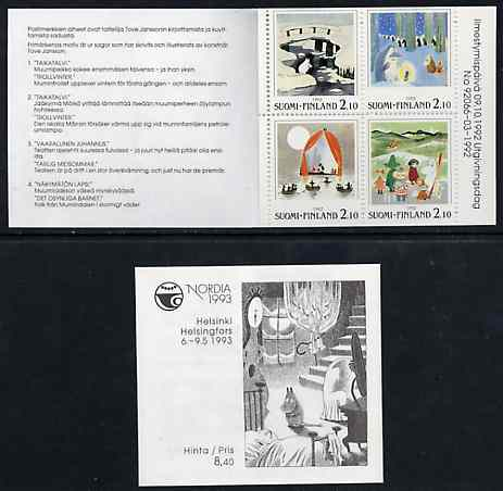 Booklet - Finland 1992 'Nordia 93' & Stamp Day 8m40 booklet complete and pristine, SG SB34